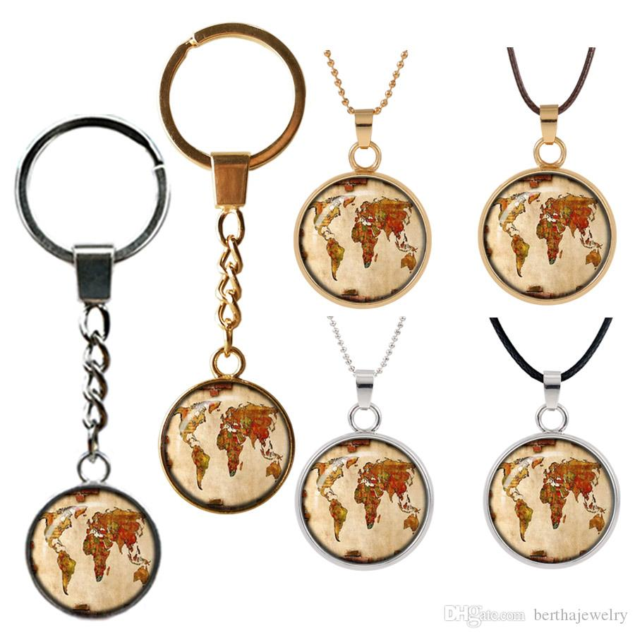 globe map of the world Retro necklace pendant jewelry world travel Curved glass Double face key buckle pendants Good friend gift