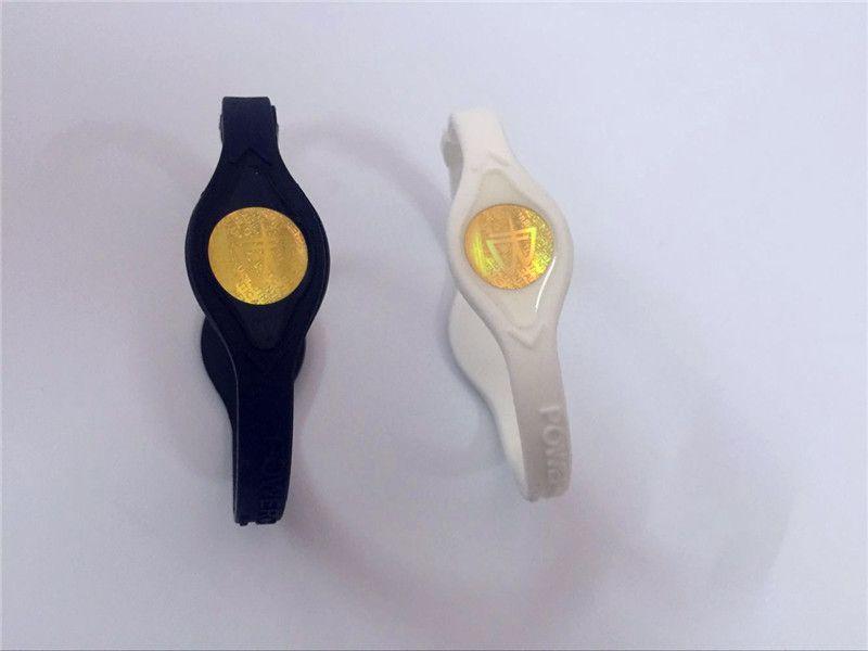 Top quality fashion jewelry PB golden mark power bangle ion hologram wristband sport power charm bracelet energy lanyard