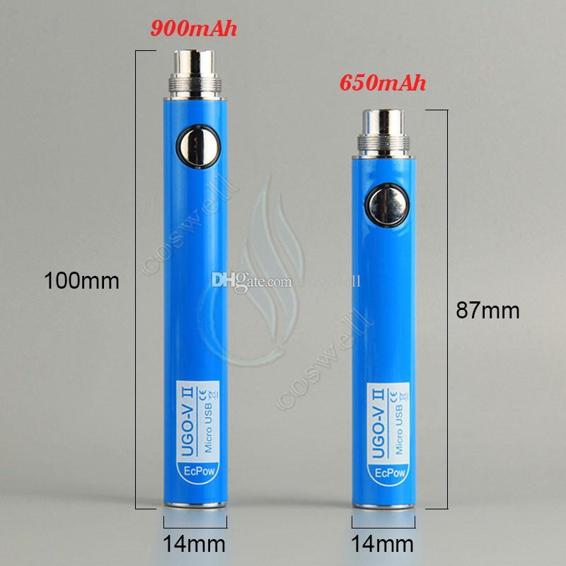 Originale UGO V II 2 650 900mAh EVOD ego 510 Batteria micro USB Passthrough Charge con cavo USB vaporizzatori e cigs O pen batterie Vape