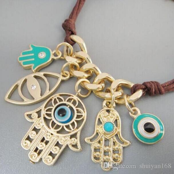 Mauvais Oeil HAMSA Plaqué Or Cordon De Cuir Bracelets Kabbalah Oeil Chanceux Charme Amulette Bijoux Hamsa Main Multi Pendentif Bracelet Cadeau De Noël