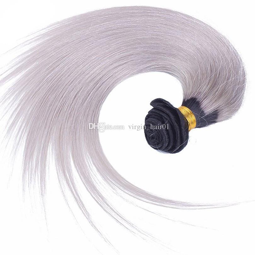 실버 그레이 옹 브르 스트레이트 인간의 머리카락 Wefts 1B 은빛 그레이 두 톤 옴 브레 헤어 위브 확장 새로운 도착 브라질 헤어 위빙 번들