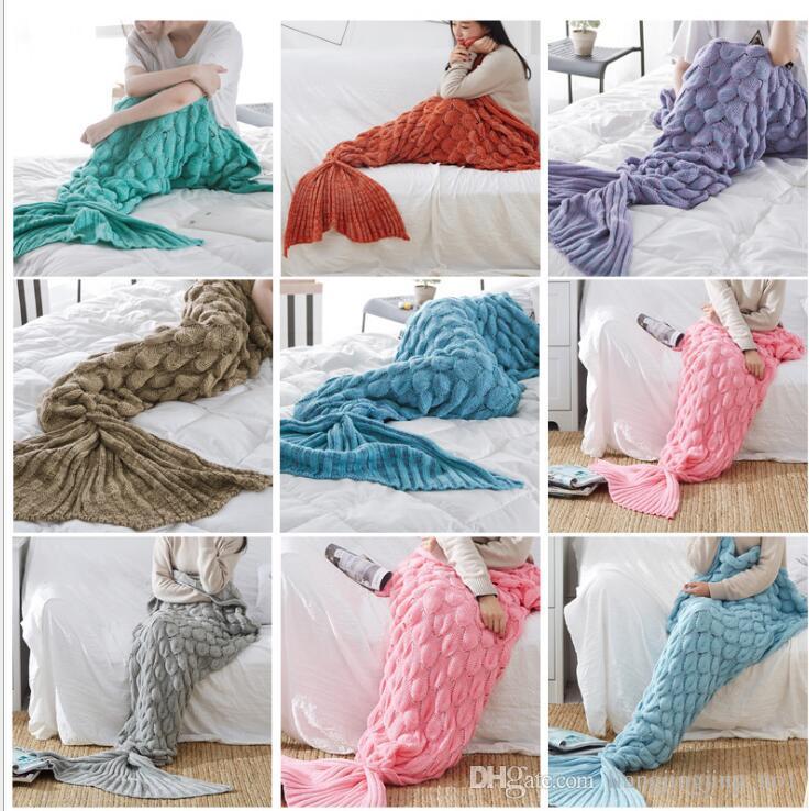 60140cm Knitted Mermaid Blanket Crochet Mermaid Tail Blanket