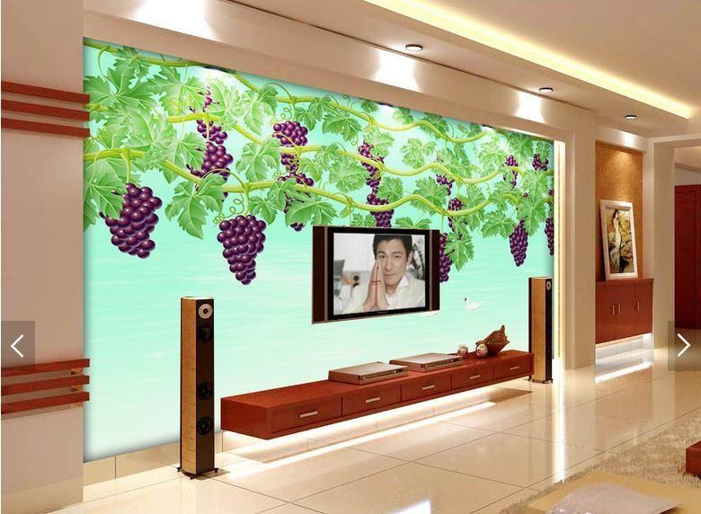 Gro handel tv hintergrund wandbilder 3d relief wallpaper traubenwasser wei en schwan wandtuch - 3d wandbilder wohnzimmer ...