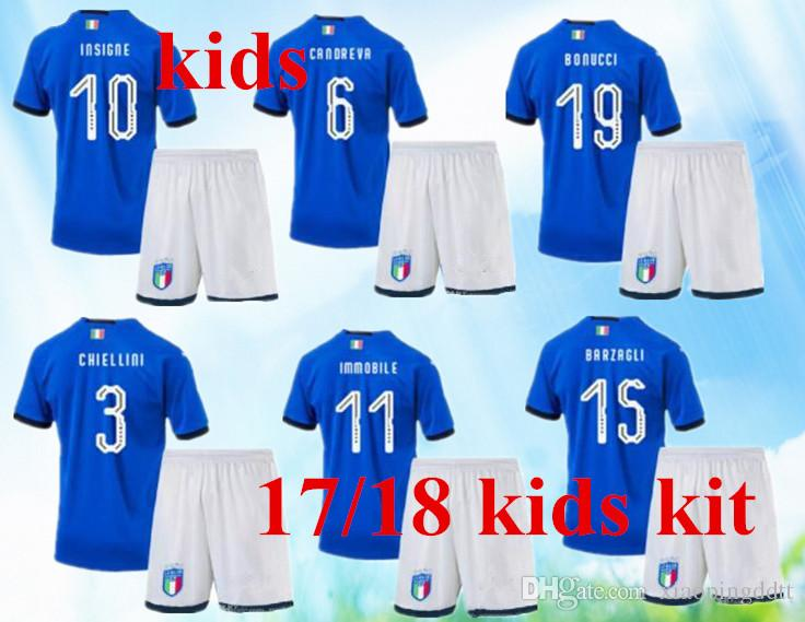 4a5685e50 2019 NEW Italy 2018 World Cup Kids Kits Home Youth Jersey 17 18 Bonucci  Verratti Chiellini INSIGNE Belotti Jerseys Italy KIDS Football Uniforms.