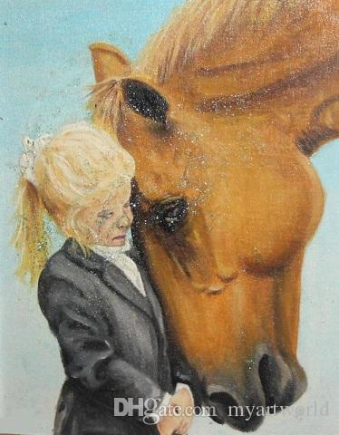 Girl and horse portrait,Pure Hand Painted Portrait & Animal Art Oil Painting On Canvas.customized size mile