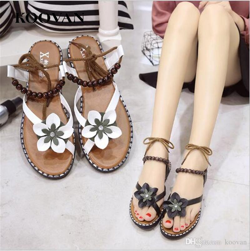 14b29bd8d Koovan Fashion Women Sandals 2017 New Summer Bohemia Style Flower Beach  Sandals Ankle Strap Flat Bottom Flip Flops Ladies Shoes W127 Fringe Sandals  Silver ...