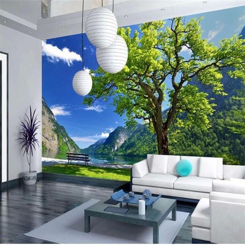 Wholesale Custom 3d Photo Wall Paper Scenic Landscape Tree Living ...