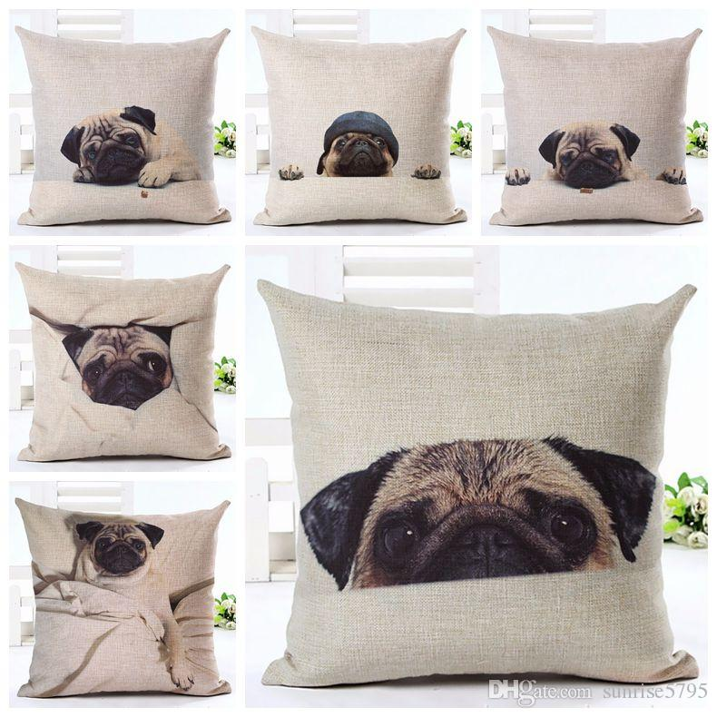 Christmas Tree Gift Pillow Cushion Cover Animal Pattern Printing Pillowcase Pet Dog Decorative Pillows Covers Almofadas Cojines Home & Garden
