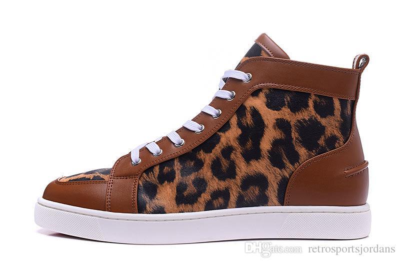 Zapatos ocasionales inferiores rojos para los hombres Mujeres Zapatos planos casuales del cuero del leopardo Zapatos planos unisex de la marca de lujo del verano de París / del otoño