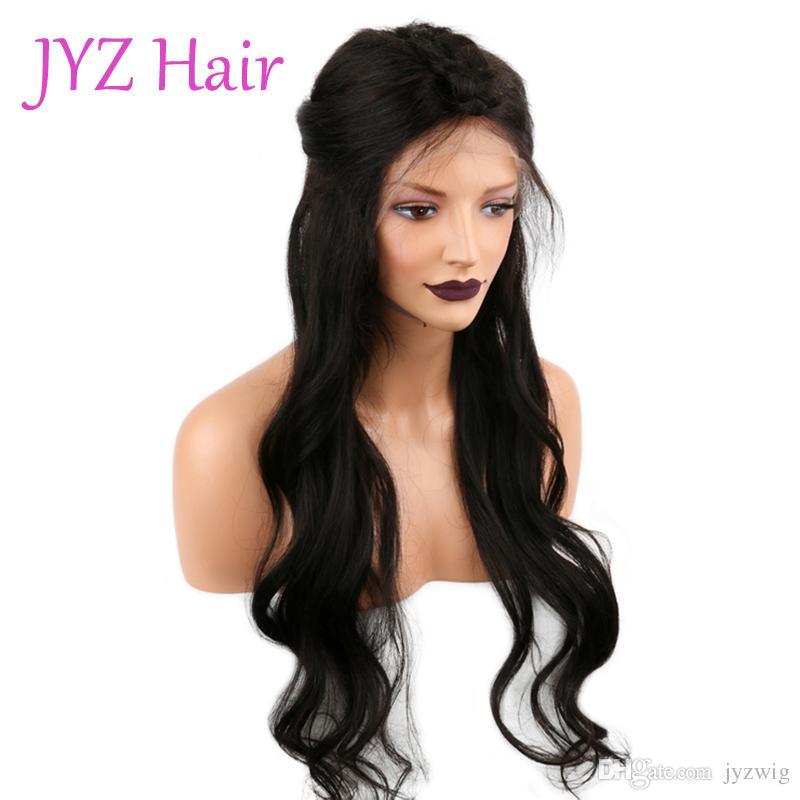 Avant de dentelle perruque couleur naturelle en vrac vague brésilienne malaisienne Vierge cheveux humains pleine perruque de dentelle Prix pour pas cher état brut vente