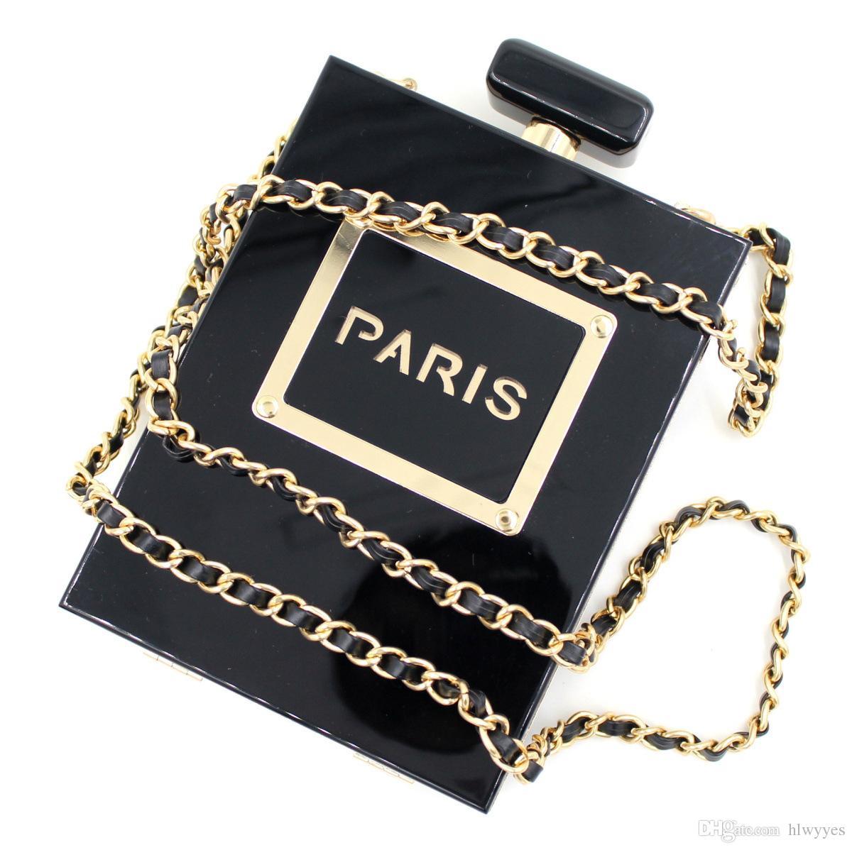Neue Berühmte Marke Designer Acryl Box Parfümflaschen Form Kette Kupplung Abend Handtaschen Frauen Kupplungen Plexiglas Klar / Schwarz
