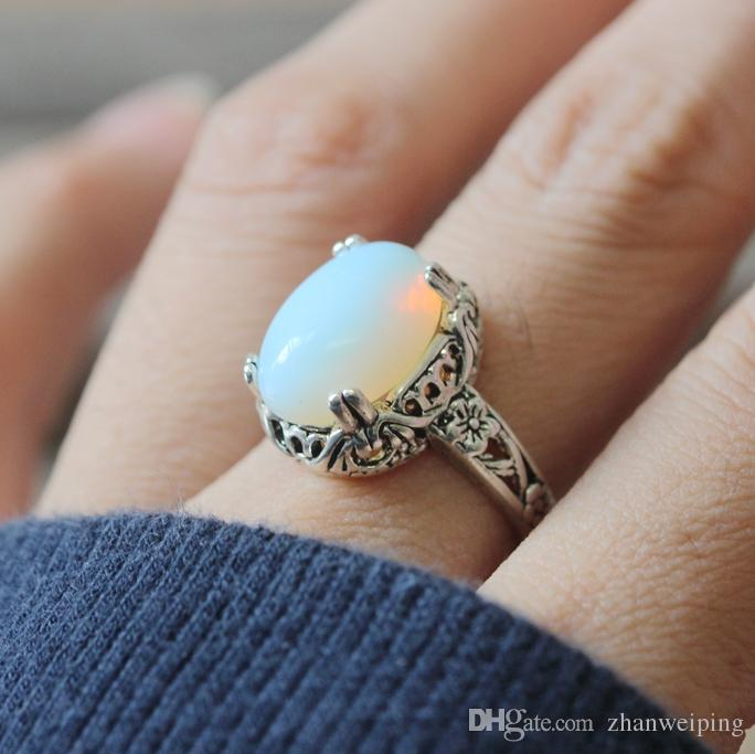 2019 Gorgeous Vintage Moonstone Ring Malachite Ring