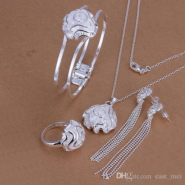 Conjunto de joyas de plata esterlina con rosas de boda para mujeres ES268, moda 925 collar de plata anillo pendiente de pulsera conjunto