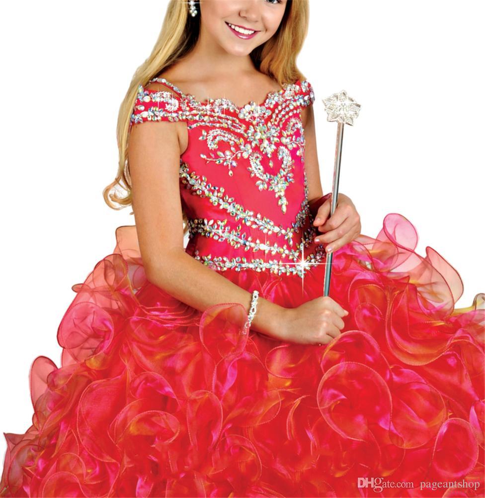 Le ragazze della principessa della spalla di Og hanno ornato gli abiti di sfera Ragazze di fiore Abiti convenzionali di occasione Abiti da ballo increspati Vestiti da spettacolo delle grandi ragazze