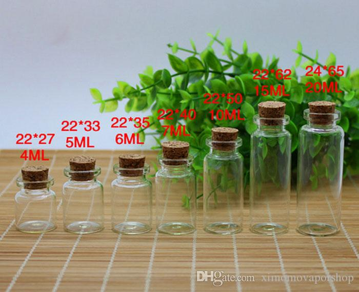 أسعار الجملة 3ML / 4ML / 5ML / 6ML / 7ML / 10ML / 15ML / 20ML / الزجاج الشفاف زجاجات الانجراف مع كورك خشبي شحن مجاني