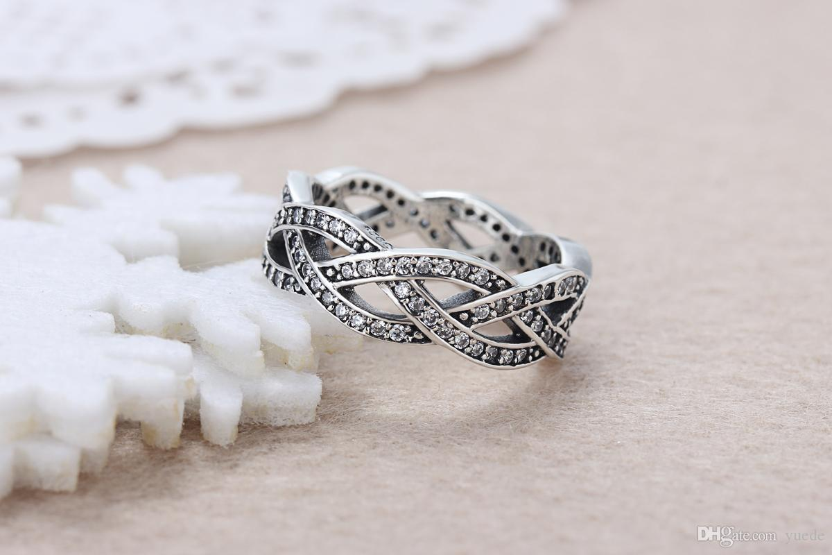 Un gros 925 Argent brillant CZ Anneau bague en diamant Fit Pandora Cubique Zircone Anniversaire Bijoux pour Femmes cadeau De Noël