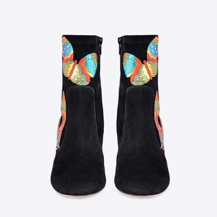 high quality~u697 40/41/42/43 genuine leather star/butterfly short boots fashion black luxury designer runway shoes gi
