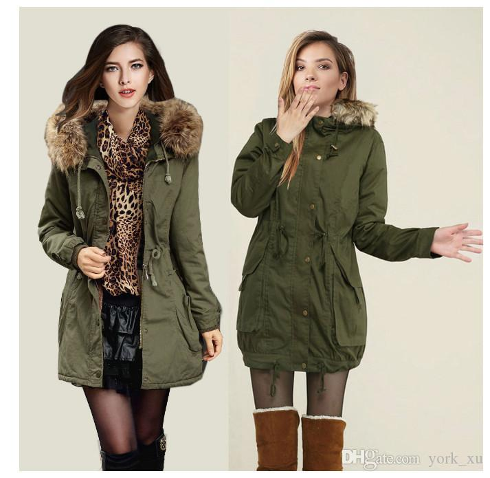 eecfba56e139f 2019 Womens Faux Fur Coats Lined Parka Outdoor Winter Hooded Long Jacket  Black Army Green Collar Thick Padded Long Parka Coat Outerwear Jacket From  York_xu, ...