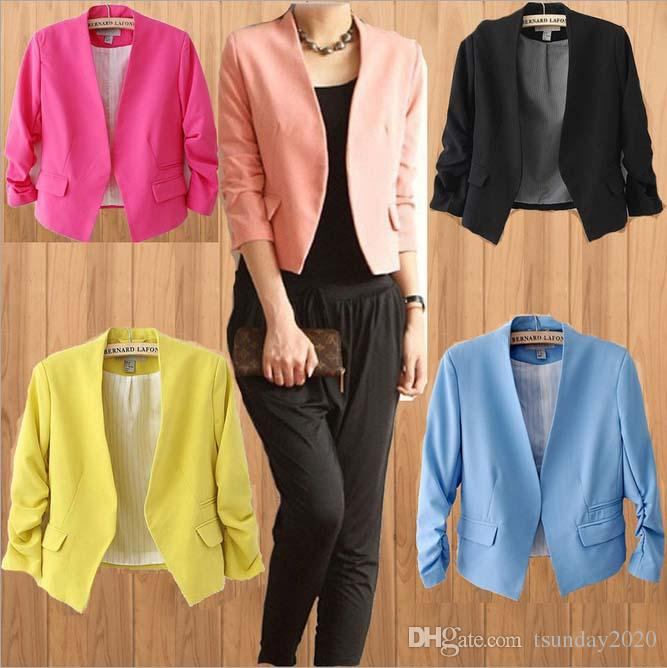 New Fashion Women Short Coats Candy Color Spring Summer Casual ...