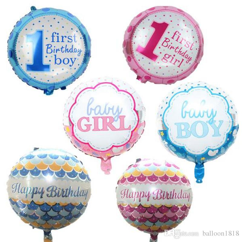 18inch 4545cm Baby Girl Boy Birthday Balloons Party Decoration For 1 First Globos Ballonnen Supplies Photo Big From