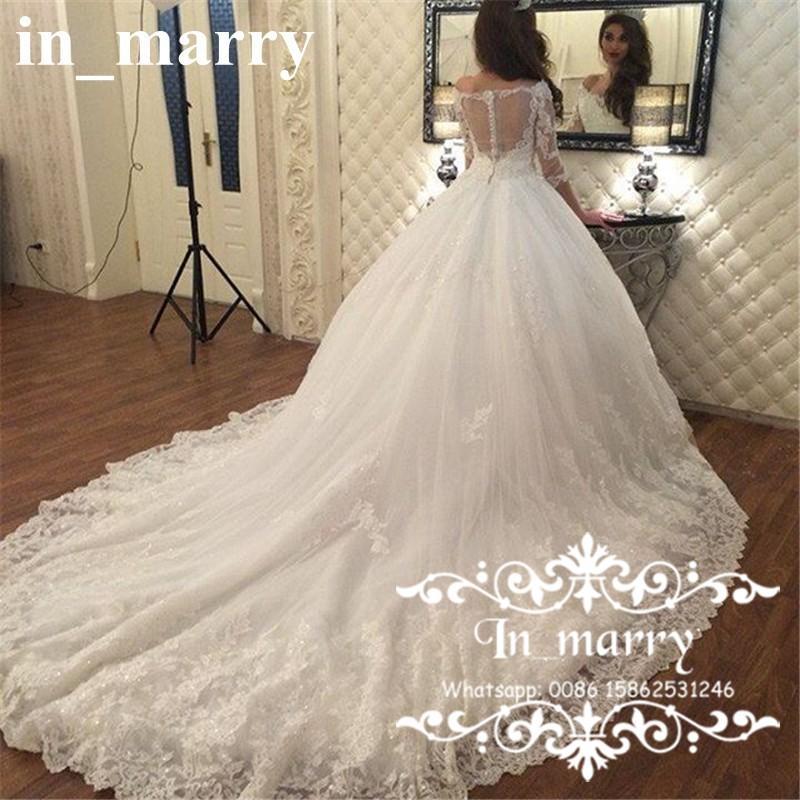 Luxury Ball Gown Arabic Muslim Wedding Dresses 2017 Off Shoulder 3/4 ...