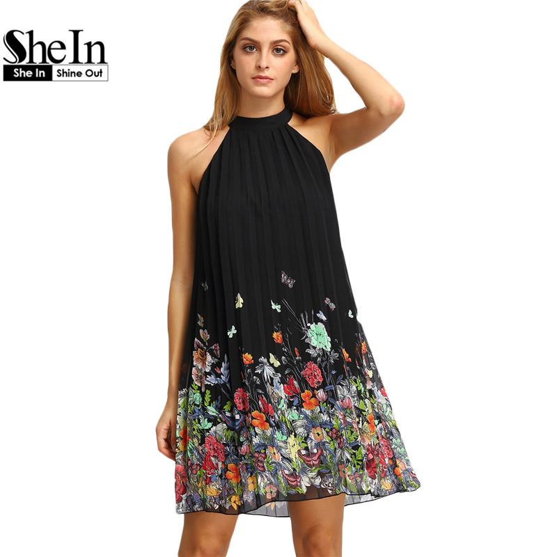 Wholesale- SheIn New Woman Dress 2016 Summer Black Round Neck Sleeveless Womens  Casual Clothing Floral Print Cut Away Shift Dresses Dress for Less Prom ... c1ab48e4c47d