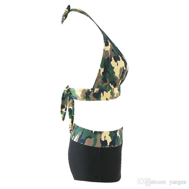 10 stücke Sexy Frauen Zweiteilige Badebekleidung Mit V-ausschnitt Neckholder Camouflage Push Up Bikini Set S M L XL QP0208