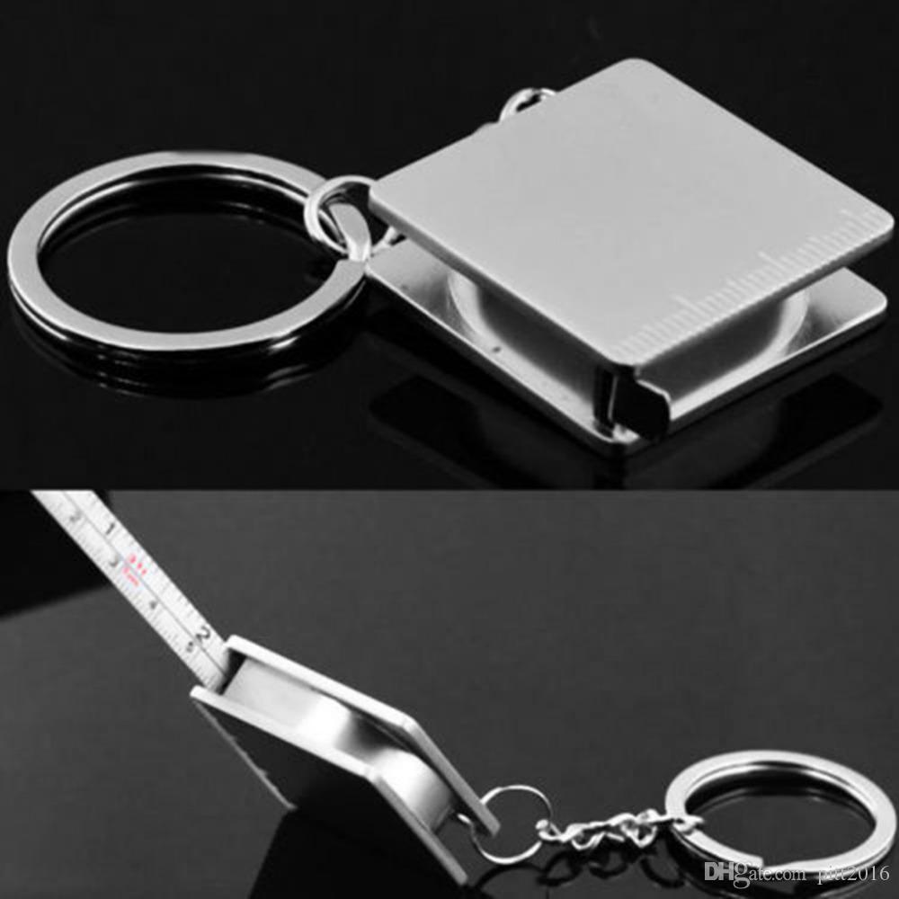 Portable full metal gobernante cinta métrica llavero multifuncional llaveros llavero llavero Envío gratis