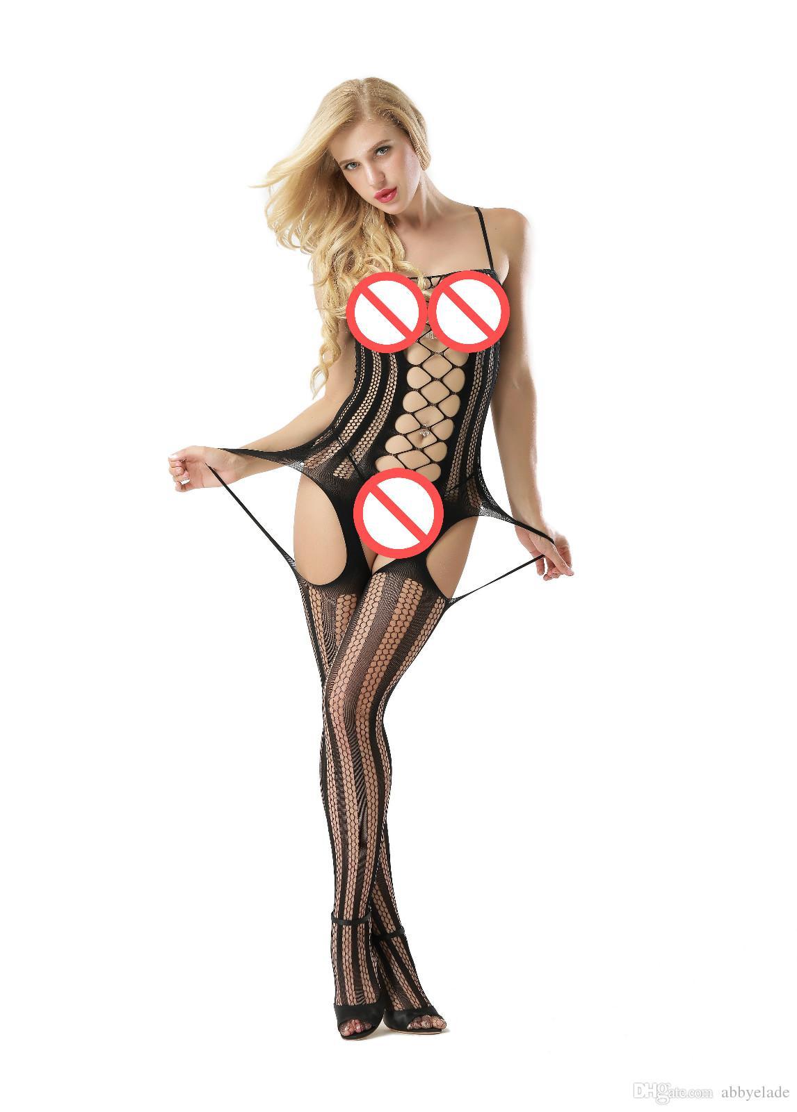 민소매 Fishnet Chemise Garters 바디 스타킹 Nightwear 바디 스타킹 스트리퍼 섬세한 Sexy Lingerie Opaque Bodysocks 바디 섹시 섹시