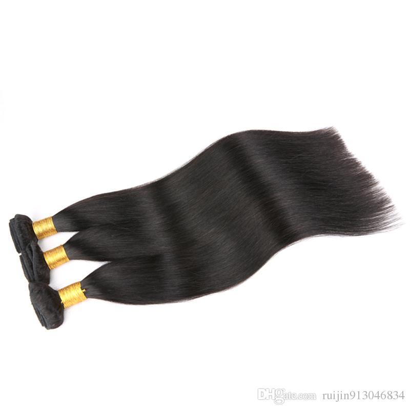 7A malesi capelli lisci 3 pacchi con chiusura vergine non trattata trame capelli umani estensioni dei capelli trattare con lunghezze miste