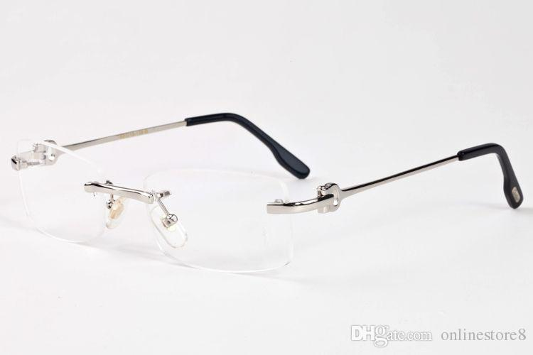 2017 جديد الرجال عادي مرآة نظارات بدون شفاف واضح البني عدسات سبيكة معدنية الساقين الإطار الجاموس القرن النظارات الشمسية oculos lunette de soleil