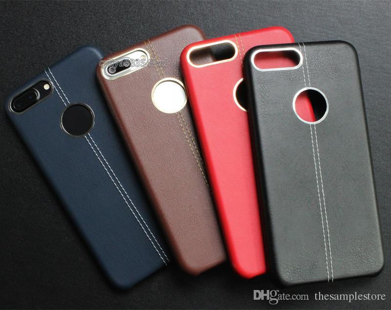 Estuche blando de cuero Costura de cuero con anillo de metal Estuche para teléfono celular TPU Estuches para teléfonos inteligentes con teléfono inteligente Android
