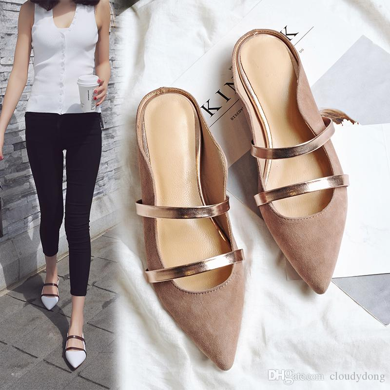 0b0efc314aa1 Pointed Toe Women Mules Summer Style Slippers Flat Heel Shoes Women Leather  White Sandals Size 34 39 Women Flats Box Packing MOMO M288 Womens Sandals  ...
