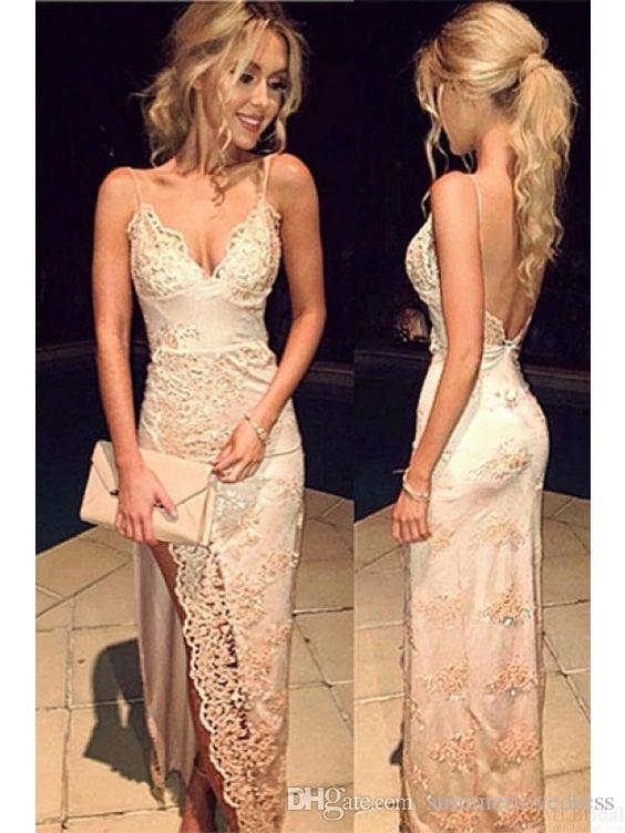 2017 New Sexy Spaghetti Straps Lace Sheath Prom Dresses Lace Applique Beaded Backless Split Formal Party Evening Dresses