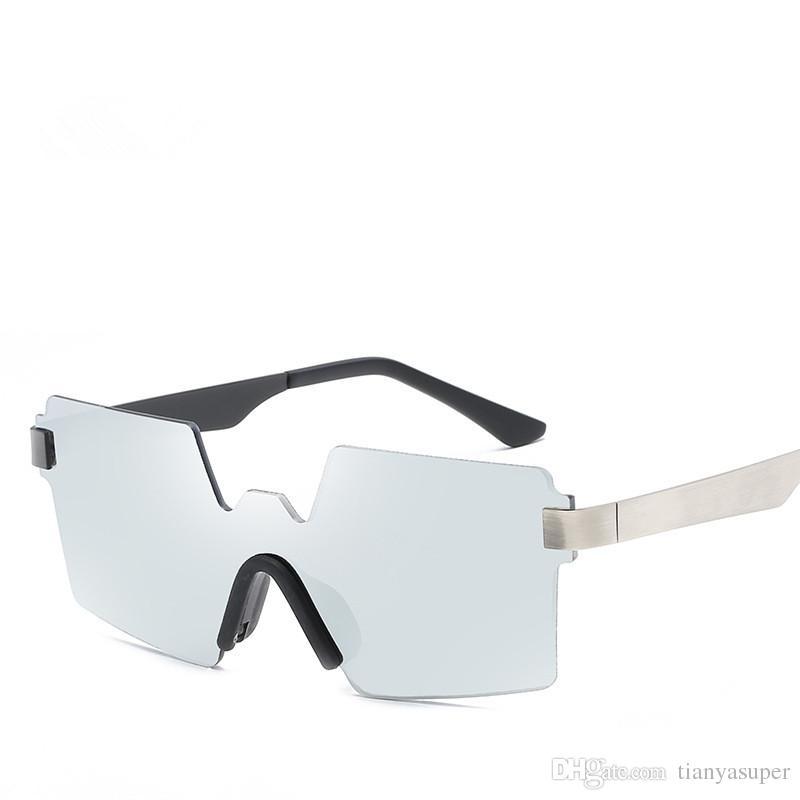 d493cc68140 New Arrival Vintage Square Rimless Sunglasses Men Metal Frame ...