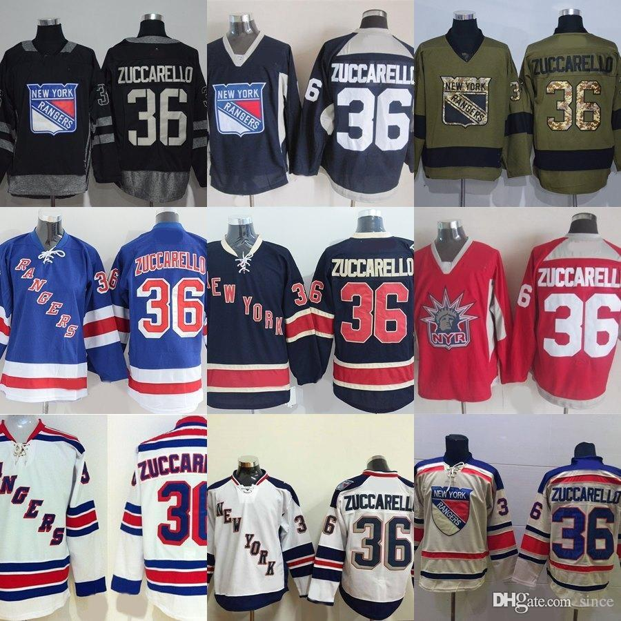 Factory Outlet Mens New York Rangers  36 Mats Zuccarello Black Red ... 75ad1df70