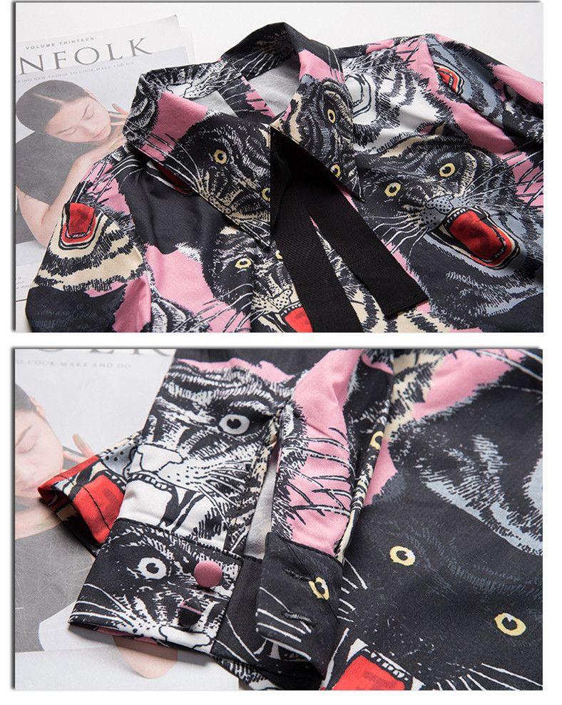 2017 Tiger Head Print Long Sleeves Women's Blouses Brand Same Style Shirts Women Back Buttons Blouses Women 110133