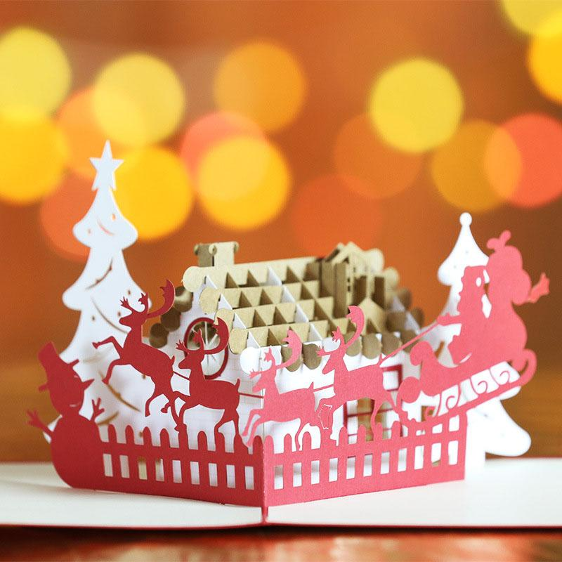 2017 New Christmas Greeting Cards 3D Handmade Pop UP Custom Gifts Souvenirs Musical Birthday From