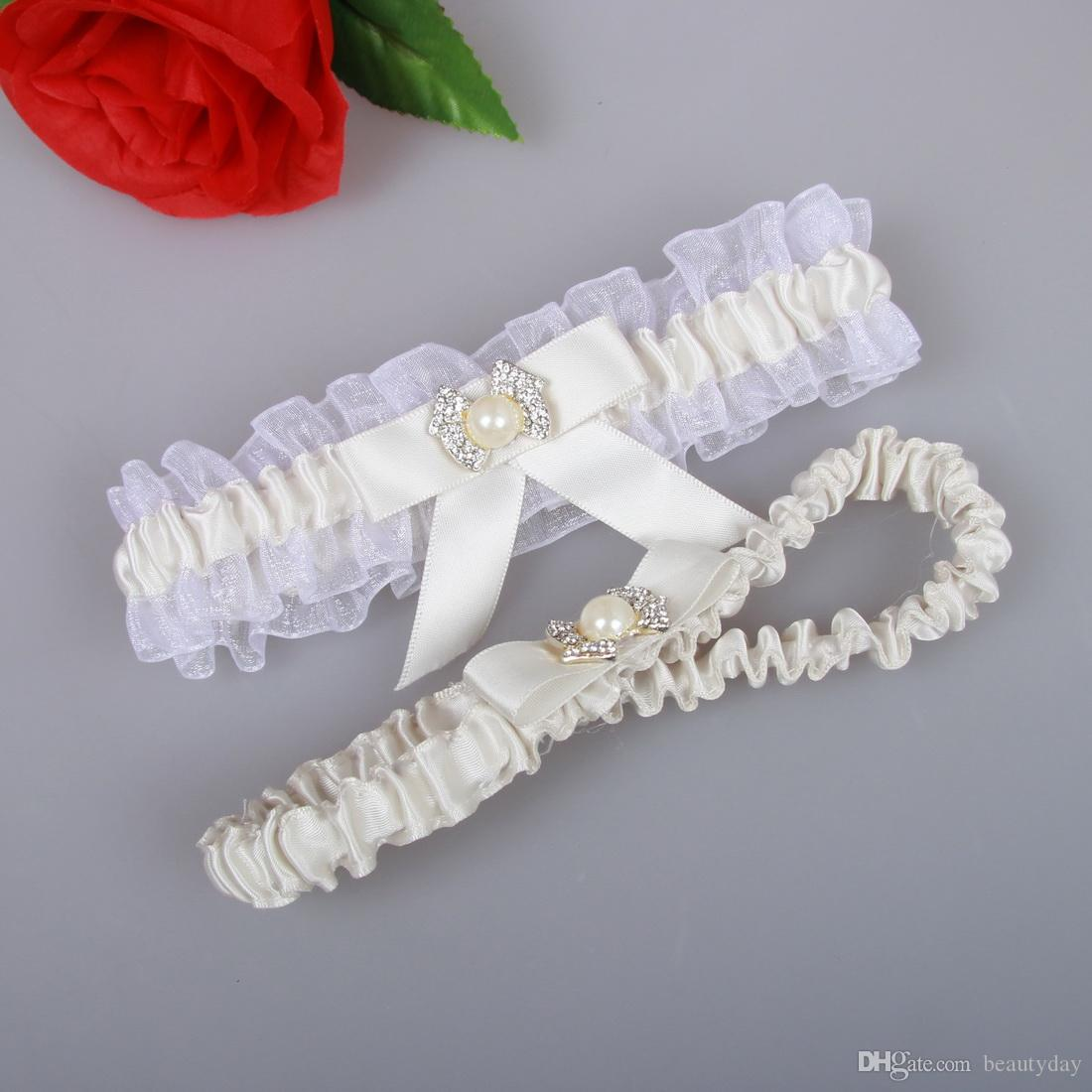 White Ivory Wedding Leg Garters Elastic Lace Sexy Feminine Crystals Bow Women Lady Sheer Vintage Bridal Accessories