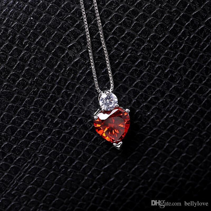 Nova Moda Jóias Hot Presente 18 K Branco Banhado A Ouro Limpar Cubic Zirconia CZ Pedra Coração Pingente de Colar para As Mulheres