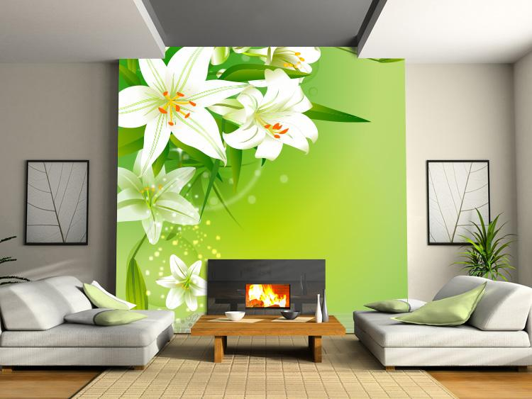 New Customized Home Decor Fresh Lily Tv Background Wallpaper Bedroom