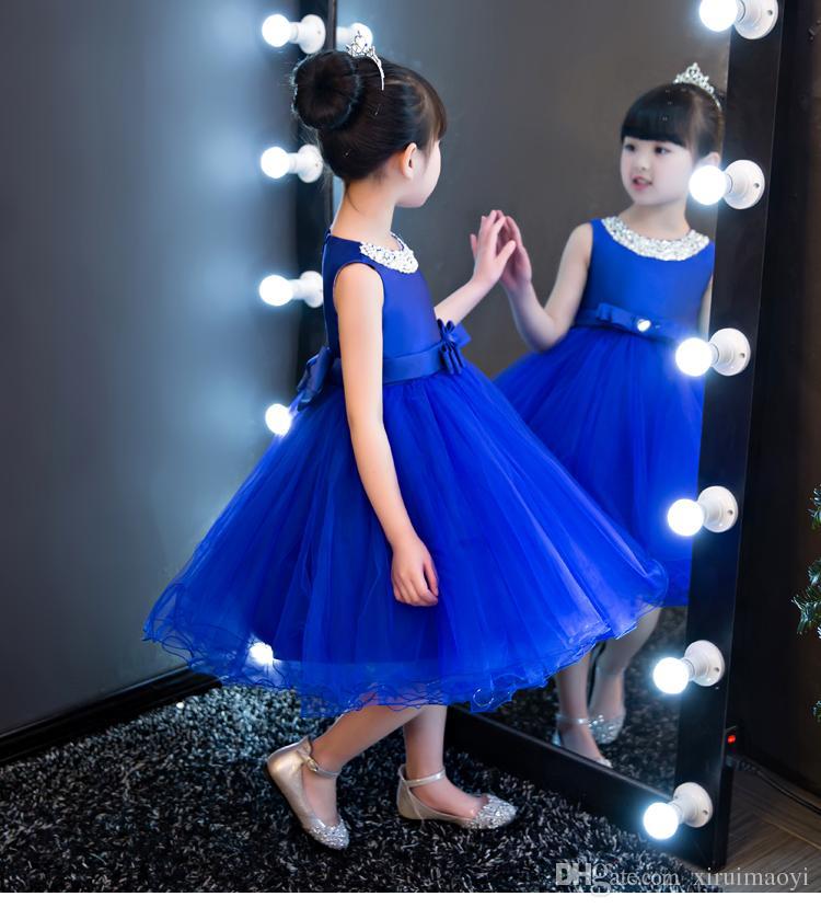 Glizt Kraliyet mavi Çocuk Kız Parti Düğün çiçek kız Elbise Bebek Kız Elbise Boncuk Yay Balo Resmi Elbise İlk Communion elbise