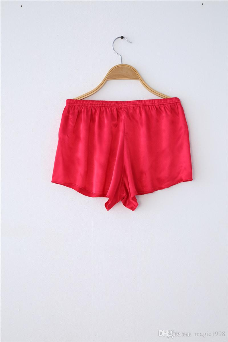 Red Satin Silk Piżamy Kobiet Koronki Piżama Zestawy Seksowny Emulacja Jedwab Pijama Zestaw Trzyczęściowy Robe + Szelki + Krótki 3215