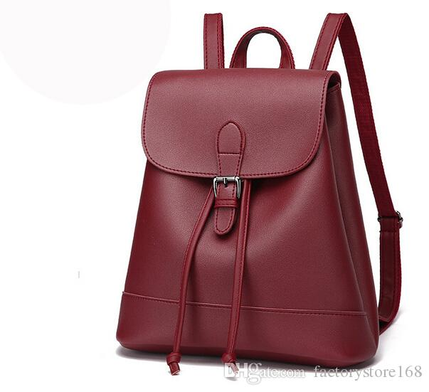 f55f357c7e8 England Style Hasp Drawstring Backpacks Women Solid Color PU Leather Rucksack  Backpack Cool Backpacks For Women Back Packs Rolling Backpacks From ...