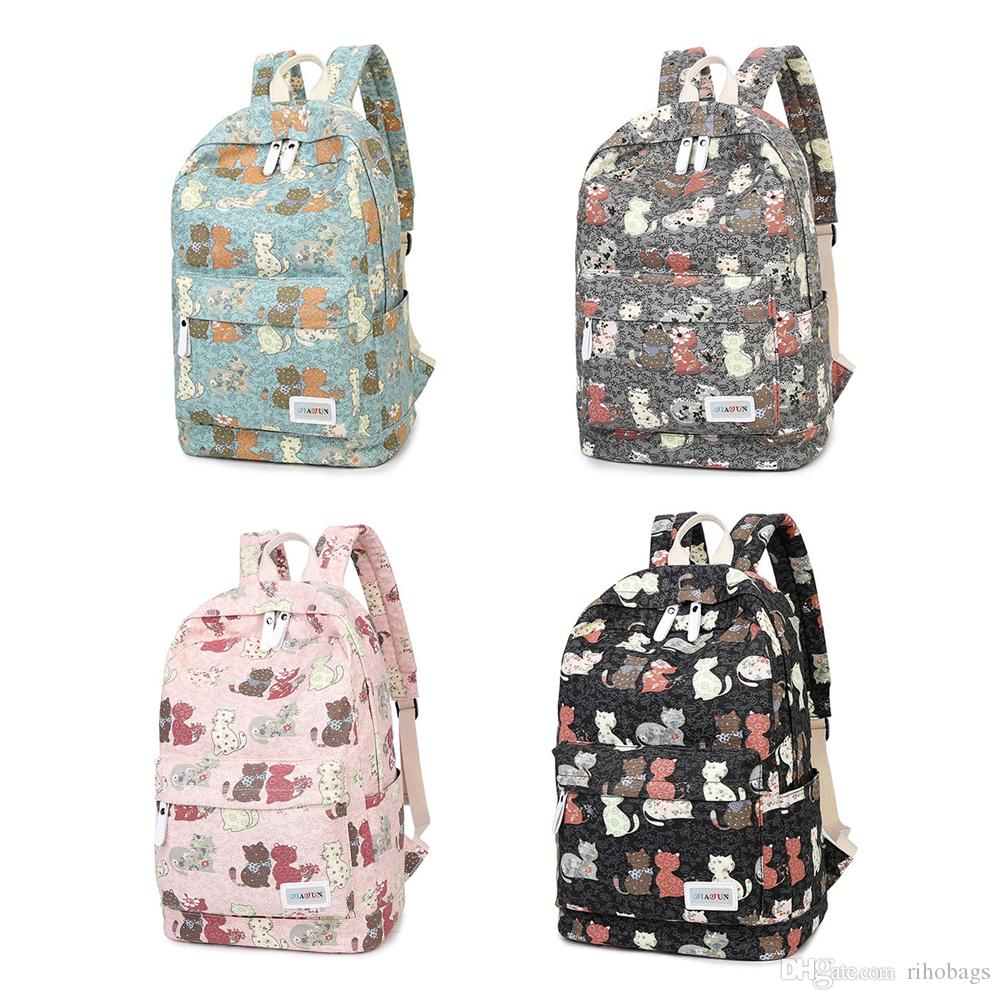 6e3dcf4559d1 Boys Girls Kids Travel Bag Student Bag Cat Bag Canvas Backpack Student  Backpack Canvas Bag Chest Bag Online with  26.18 Piece on Rihobags s Store