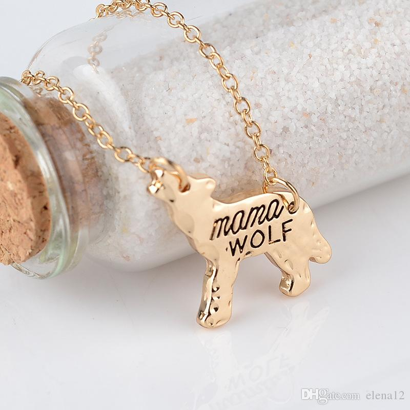 """wolf mama""family love Gift for child or mom wolf suspension necklaces & pendants alloy chain choker jewelry collars wholesale 161897"