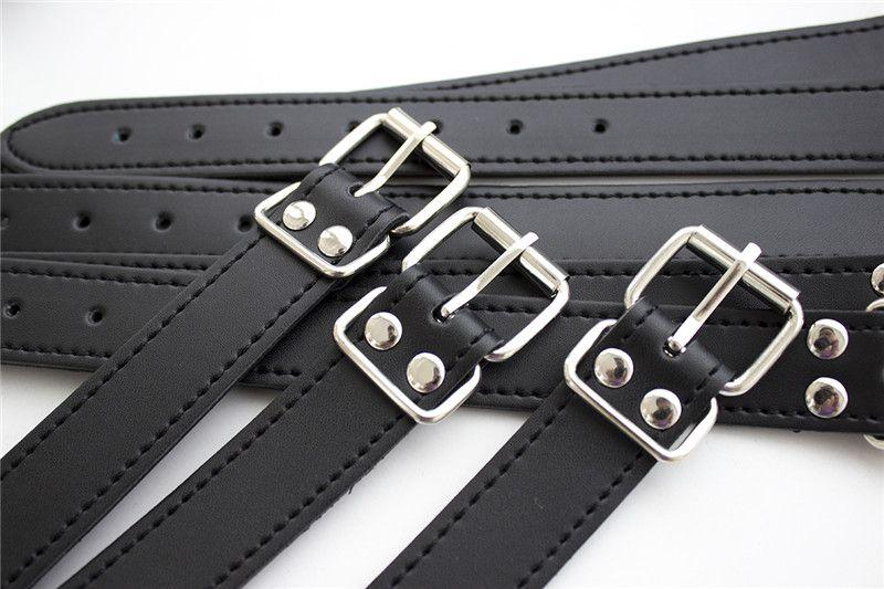 Leather Bdsm Kit Adult Game Sex Tools Fetish Slave Harness Bondage Straps Neck Collar handcuffs Restraint Arms Wrist Cuffs