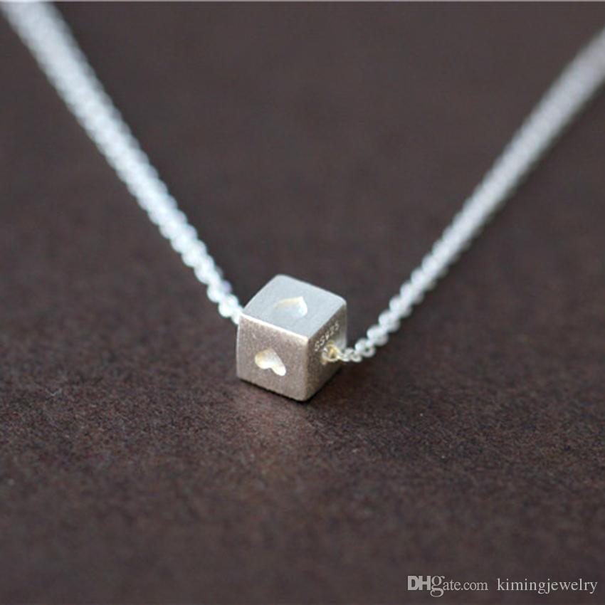Simple Design Real 925 Sterling Silver Love Heart Cube Pendant Chain Necklace Women Statement Jewelry collier en argent