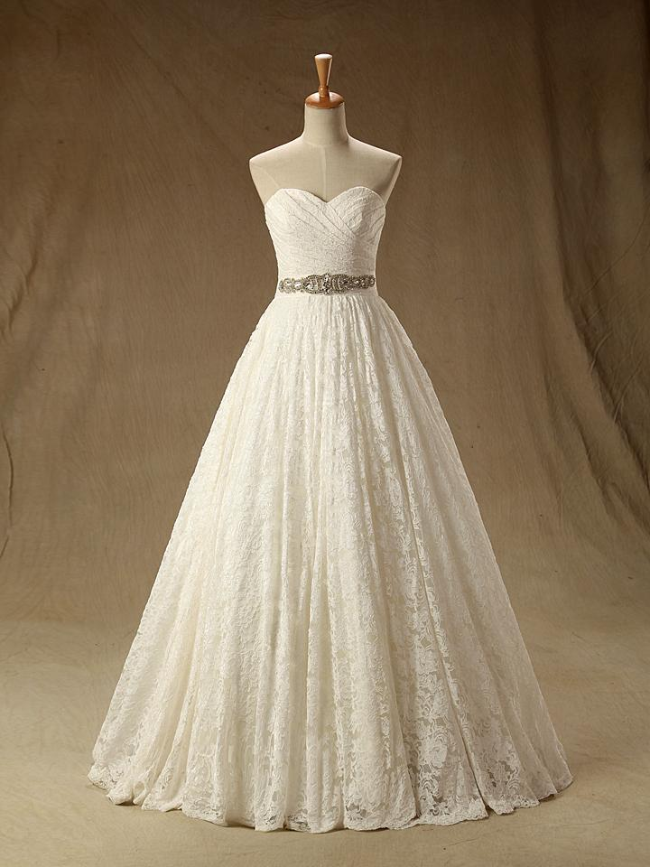 Lace Pleat Floor Length A Line Sweetheart Sashes Wedding Dress None ...