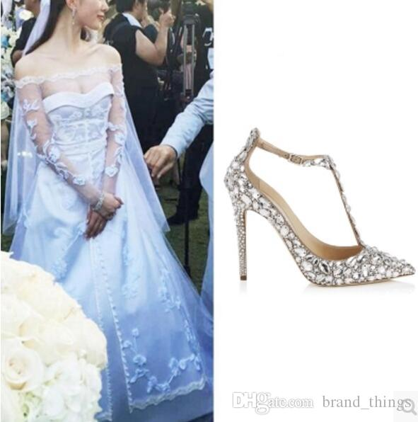 0fa2a380427 2017 Fashion Women Rhinestone Pumps Dimond High Heels Point Toe Pumps  Wedding Shoes White Dress Pump Thin Heel Gladiator Sandals Pink Shoes Munro  Shoes From ...
